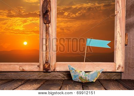 Romantic Sunset: View Out Of The Window. Background With Boat For Concepts.