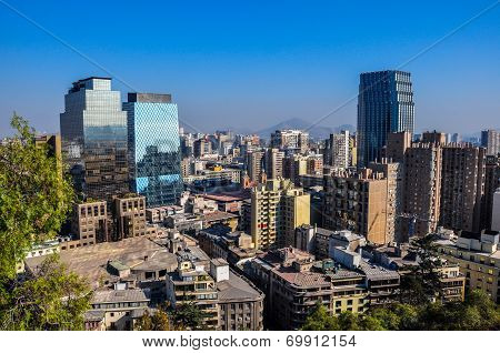 Downtown Santiago, Viewed From Cerro Santa Lucia, Chile