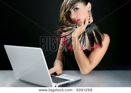 Attractive Brunette Fashion Woman With Laptop