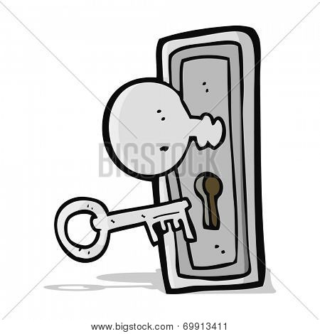 cartoon key and keyhole