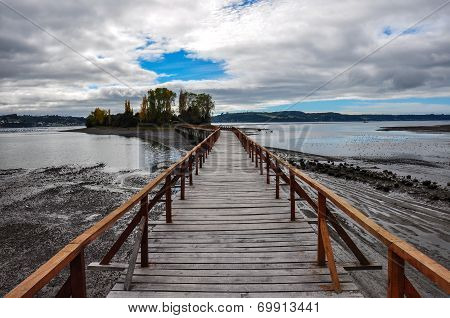 Beautiful Small Island At The End Of A Wooden Dock, Chiloé Island, Chile