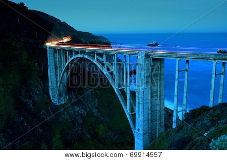 Bixby Bridge as the famous landmark in Big Sur California.