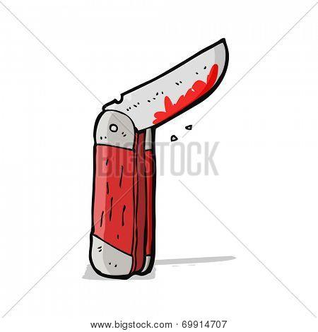 cartoon bloody folding knife