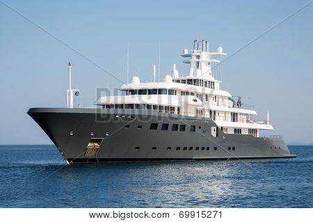 Gigantic Big Luxury Mega Or Super Motor Yacht. Investment For Millionaires Or Billionaires.