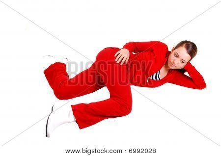 Girl Lying On Floor And Relaxing.