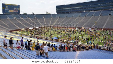 Um Football Crowd Wait To Enter Field
