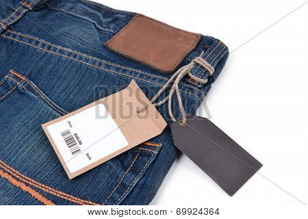 Price Tag With Barcode On  Jeans