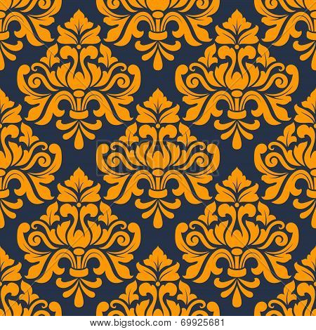 Orange colored floral arabesque seamless pattern