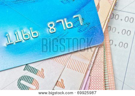 Credit Card, Thai Bank Notes With Bankbook.