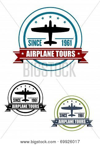 Airplane travel tours icon with plane