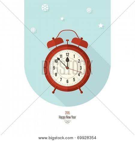 Christmas and New Year. Vector greeting card with vintage clock