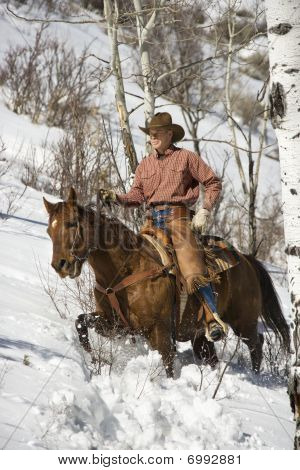 Man Riding A Horse The Snow