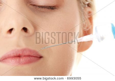 Beautiful Woman Receiving A Injection