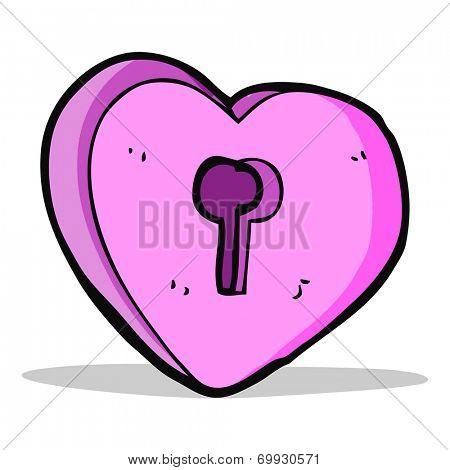 cartoon heart with keyhole