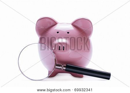 Magnifying Glass Next To A Pink Piggy Bank