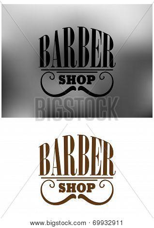 Retro barber shop emblem with mustache