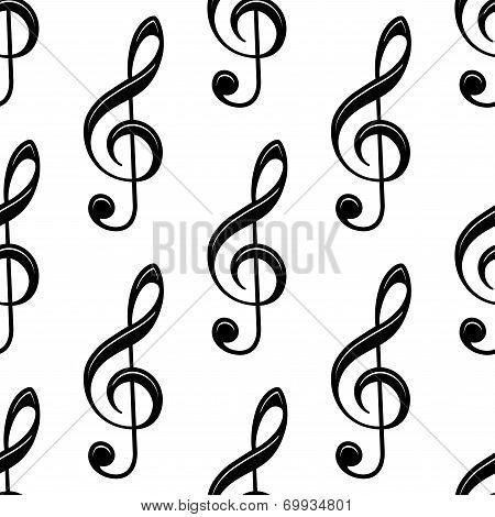 Seamless musical treble clef pattern