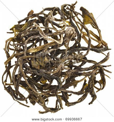 Heap pile of dry green tea leaves Huan Shan Mao Fen top view surface  isolated on white background
