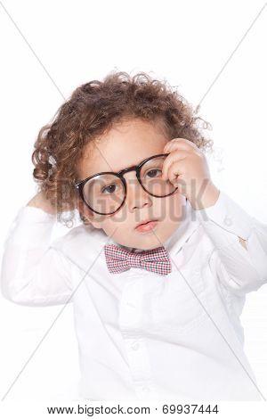 Closeup Cute Baby Wearing Eye Glasses