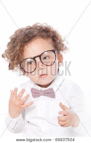 Macro Cute Curly Kid Wearing Eye Glasses