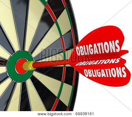 Obligations word on a red dart hitting a board successfully meeting your responsibilities in life, career or financial responsibility