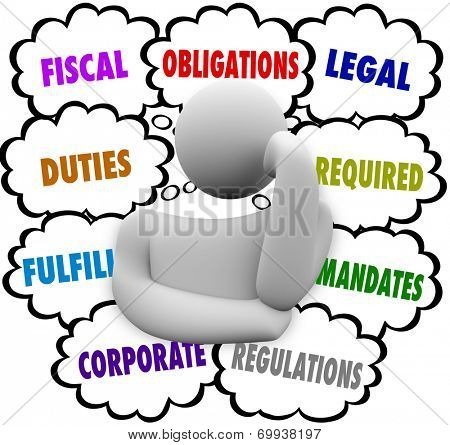 Obligations words in thought clouds above a thinker including fiscal, duties, fulfill, corporate, legal, required, mandate, regulations
