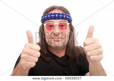 Long Hair Man Showing Two Thumbs Up