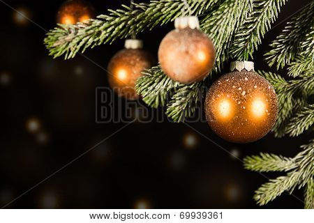 Black Christmas Background With Golden Lights