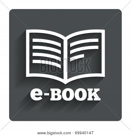 E-Book sign icon. Electronic book symbol.