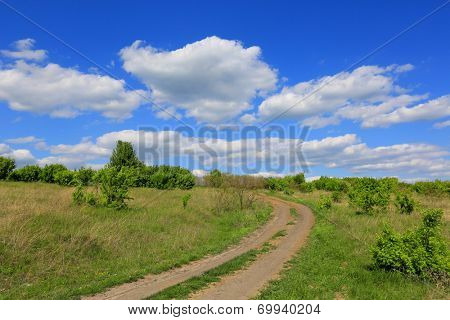 rut rural road over meadow in steppe