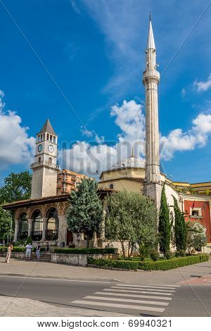 Et'hem Bey Mosque And Tirana Clock Tower.
