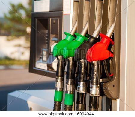 Fuel Pumps At Petrol Station