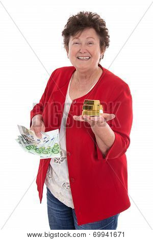 Isolated Senior Woman With Money And Gold: Concept For Pension And Heritage.