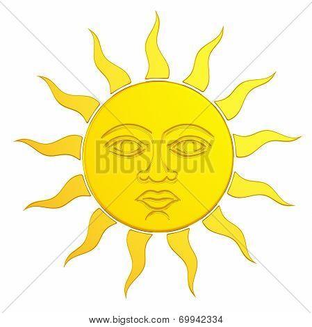 Golden Sun With Face, 3d