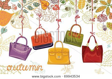 Autumn fashion. Women's handbags and leaves