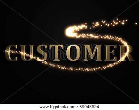 Customer- Inscription With Luminous Line With Spark
