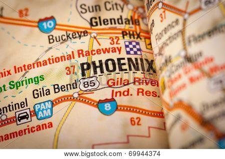 Phoenix City On A Road Map