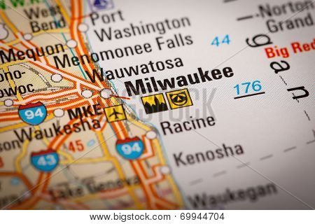 Milwaukee City On A Road Map