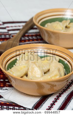Cooked Traditional Ukrainian Hand-made Varenyky In A Bowl