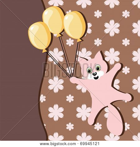 card with cat and balloons