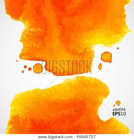 Orange Watercolor Vector Background With Splashes