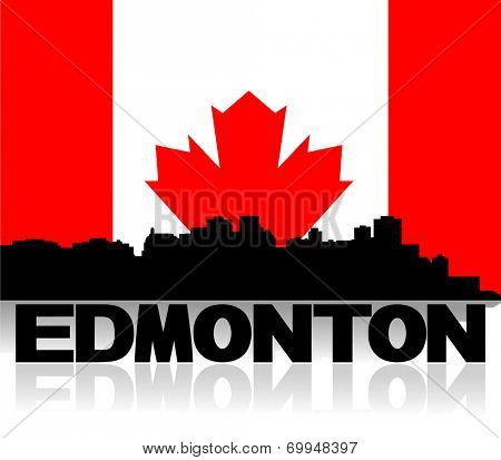 Edmonton skyline and text reflected with Canadian flag illustration