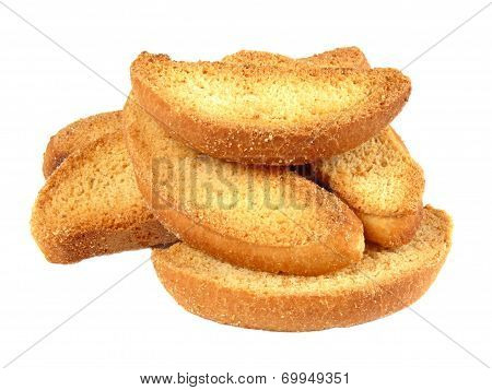 Delicious Vanilla Rusks Isolated On A White Background