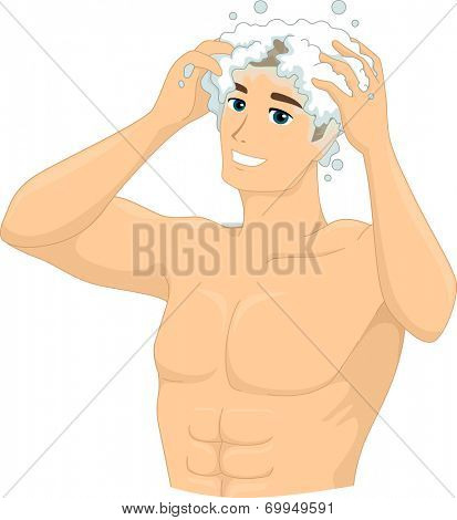 Illustration of a Man Shampooing His Head