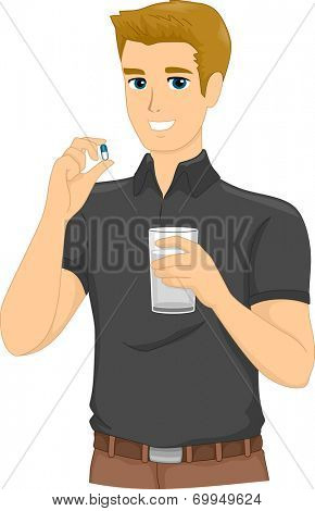 Illustration of a Man About to Take a Pill
