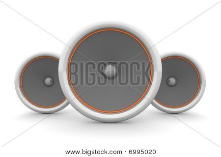 Three Speakers - Orange Design