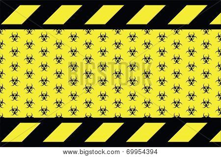 Warning sign for bio hazard on the yellow background