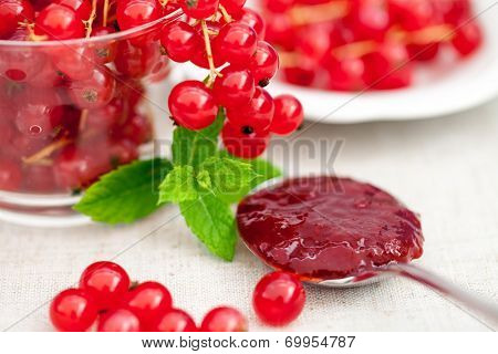Red currant fruits and jam on a spoon