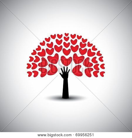 Heart Or Love Icons And Human Hand - Concept Vector.