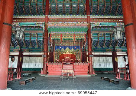 The Inside Of Geunjeongjeon In Gyeongbok Palace In Korea